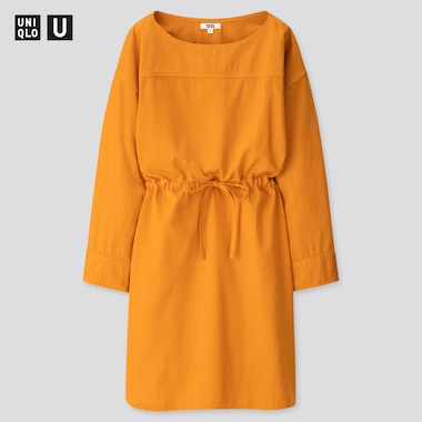 Women U Denim Drawstring Long-Sleeve Dress, Orange, Medium