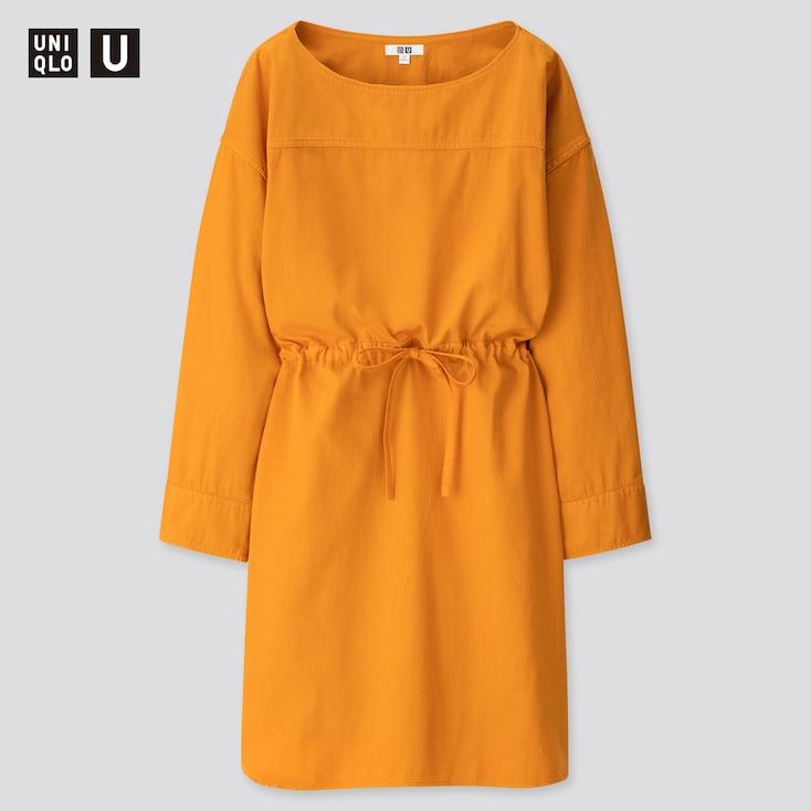 Women U Denim Drawstring Long-Sleeve Dress, Orange, Large