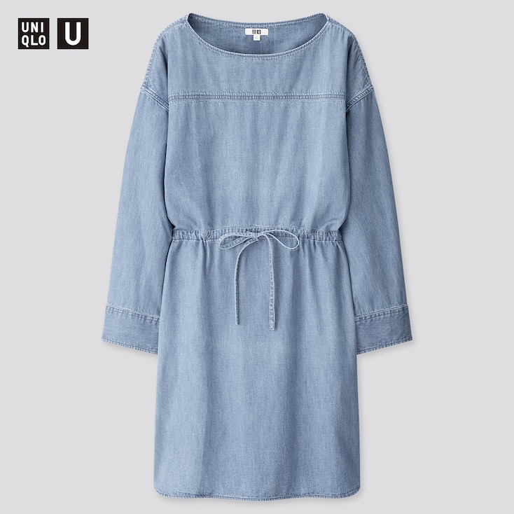 Women U Denim Drawstring Long-Sleeve Dress, Blue, Large