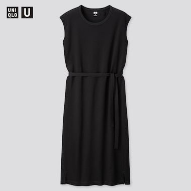 Women U Crew Neck Sleeveless Dress, Black, Medium