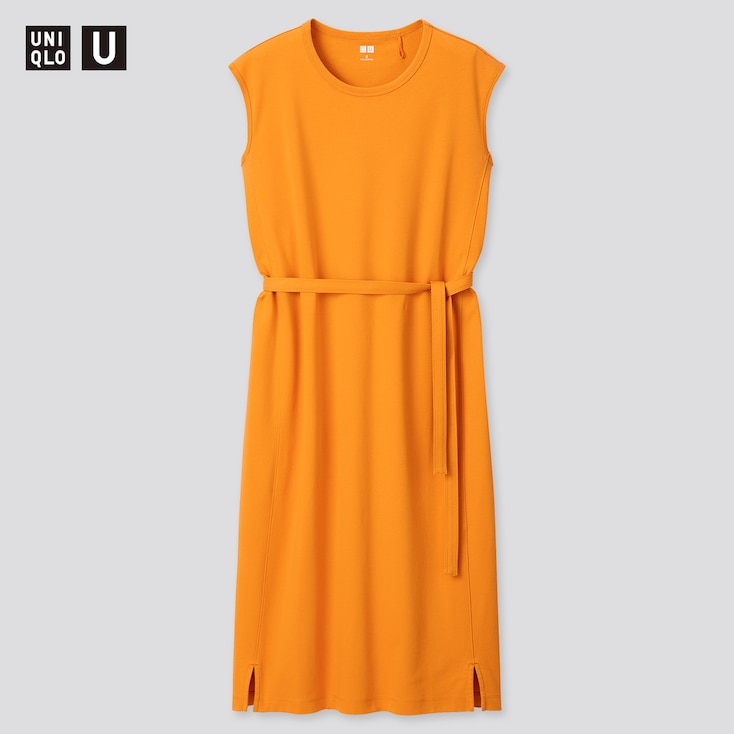 Women U Crew Neck Sleeveless Dress, Orange, Large