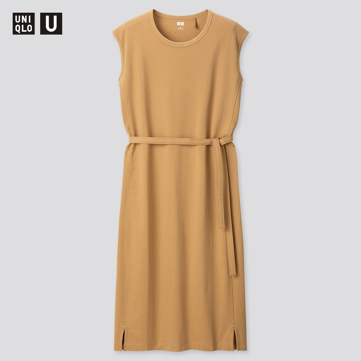 Women U Crew Neck Sleeveless Dress, Brown, Large