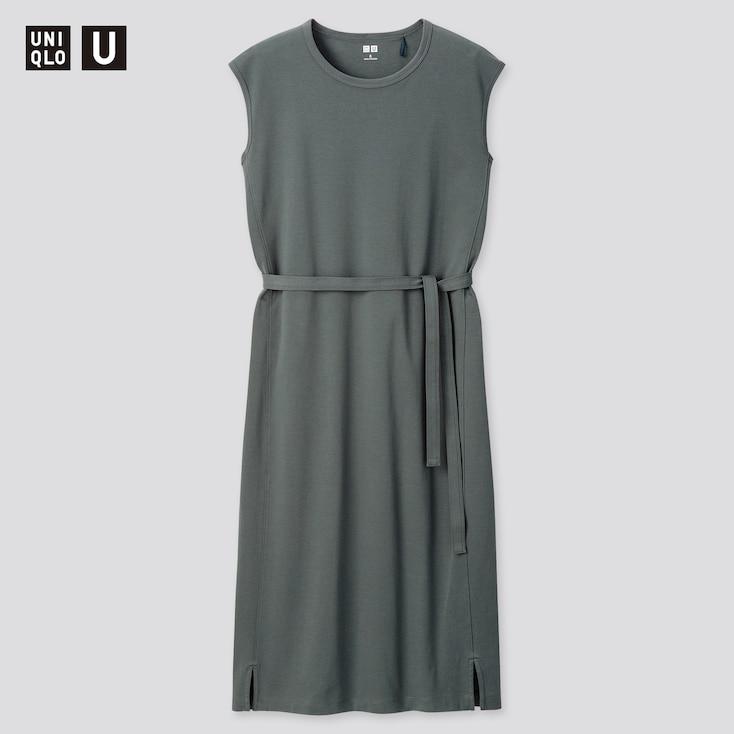 Women U Crew Neck Sleeveless Dress, Blue, Large