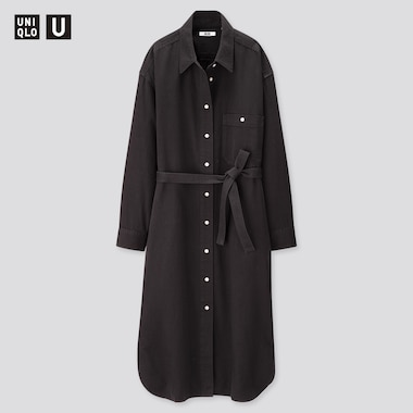 Women U Denim Long-Sleeve Shirt Dress, Black, Medium