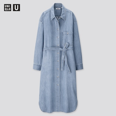 Women U Denim Long-Sleeve Shirt Dress, Blue, Medium