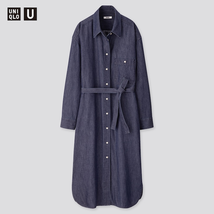 Women U Denim Long-Sleeve Shirt Dress, Blue, Large