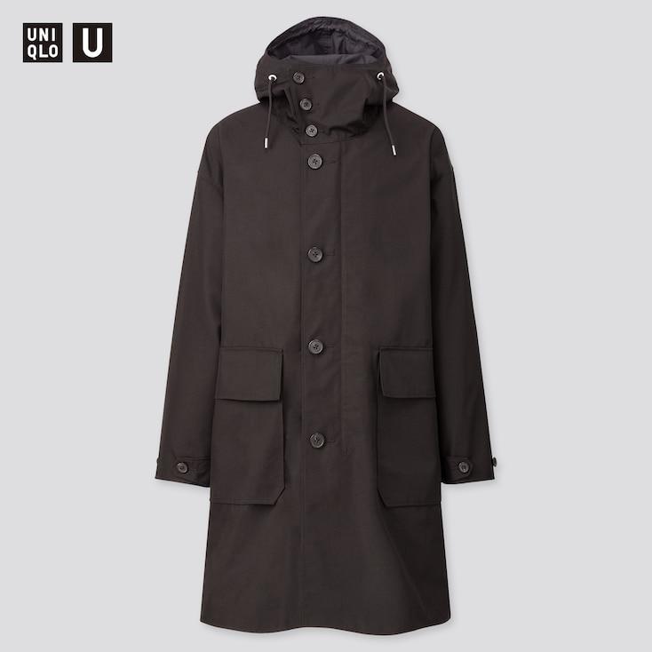 Men U Hooded Coat, Black, Large