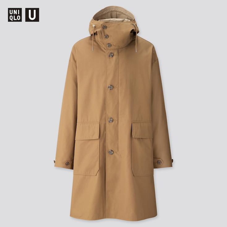 Men U Hooded Coat, Brown, Large