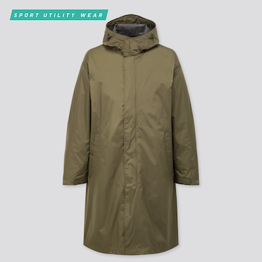 Men Light Blocktech Hooded Coat, Olive, Medium