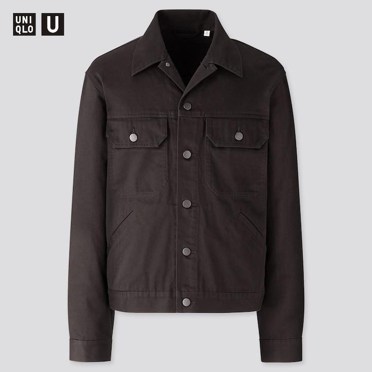 Men U Trucker Jacket, Black, Large