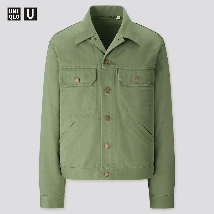 Men U Trucker Jacket, Green, Large