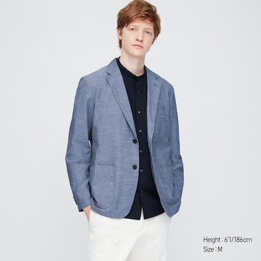 Men Chambray Lightweight Jacket