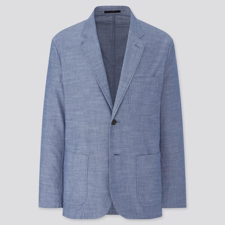 Men Lightweight Chambray Jacket, Blue, Large