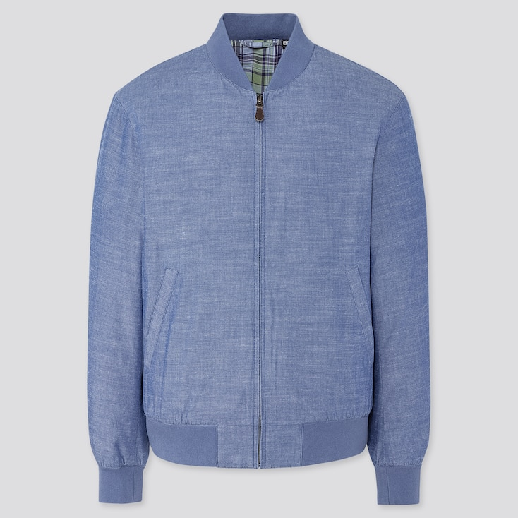 Men Cotton Ribbed Blouson, Blue, Large