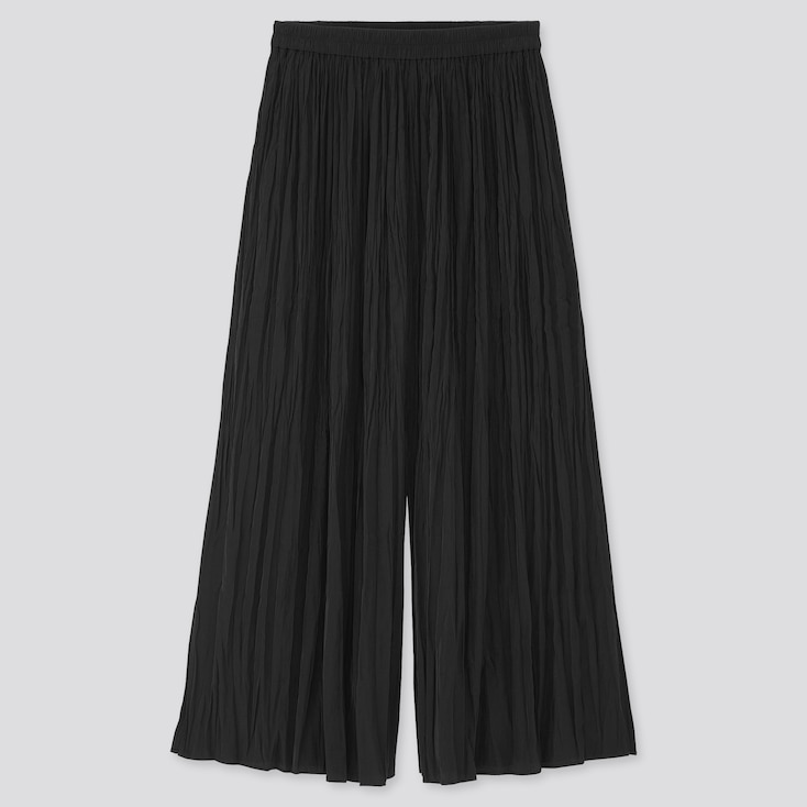Women Washer Satin Skirt Pants, Black, Large