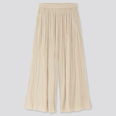 Women Washer Satin Pants, Natural, Medium