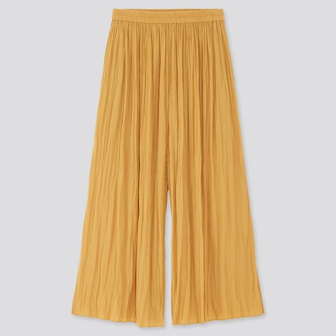 Women Washer Satin Skirt Pants, Yellow, Medium