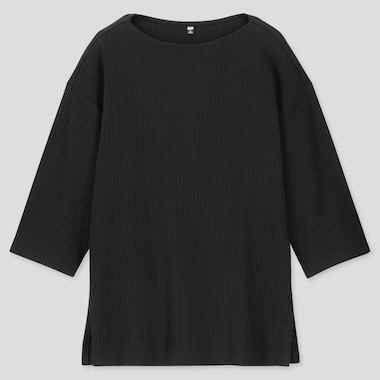 WOMEN WIDE-RIBBED RELAXED 3/4 SLEEVE TUNIC, BLACK, medium