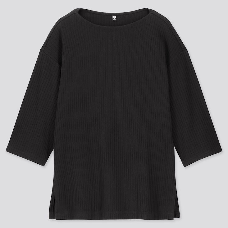 WOMEN WIDE-RIBBED RELAXED 3/4 SLEEVE TUNIC, BLACK, large