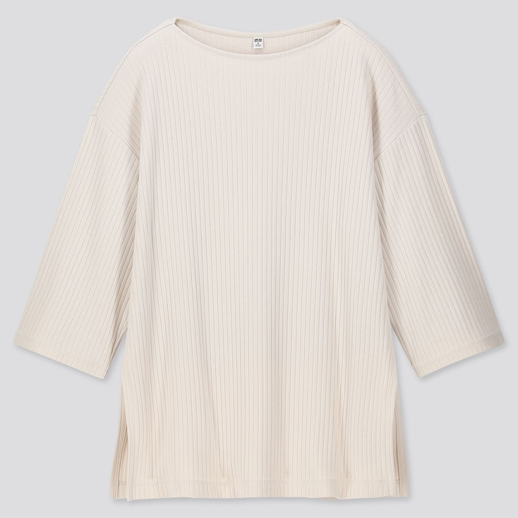 WOMEN WIDE-RIBBED RELAXED 3/4 SLEEVE TUNIC, NATURAL, large