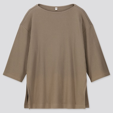 WOMEN WIDE-RIBBED RELAXED 3/4 SLEEVE TUNIC, BEIGE, medium