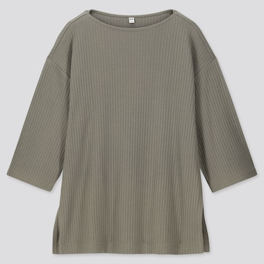 WOMEN WIDE-RIBBED RELAXED 3/4 SLEEVE TUNIC, GREEN, medium