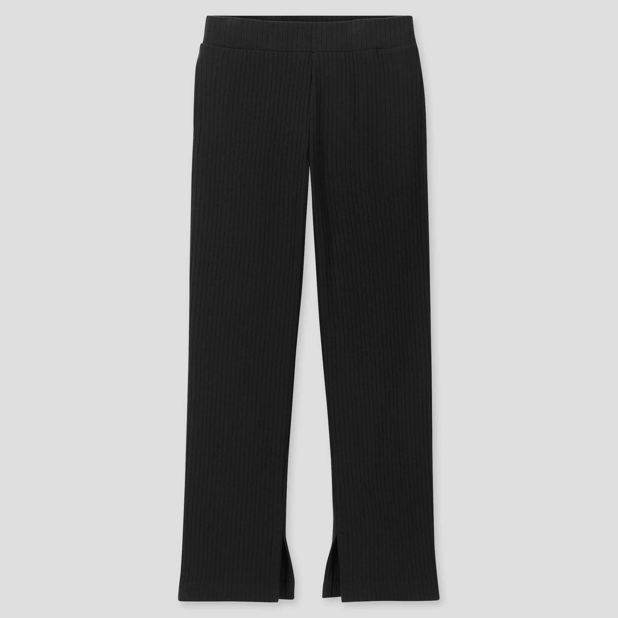 WOMEN WIDE-RIBBED SLIT STRAIGHT PANTS