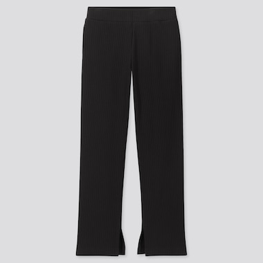 WOMEN WIDE-RIBBED SLIT STRAIGHT PANTS, BLACK, medium