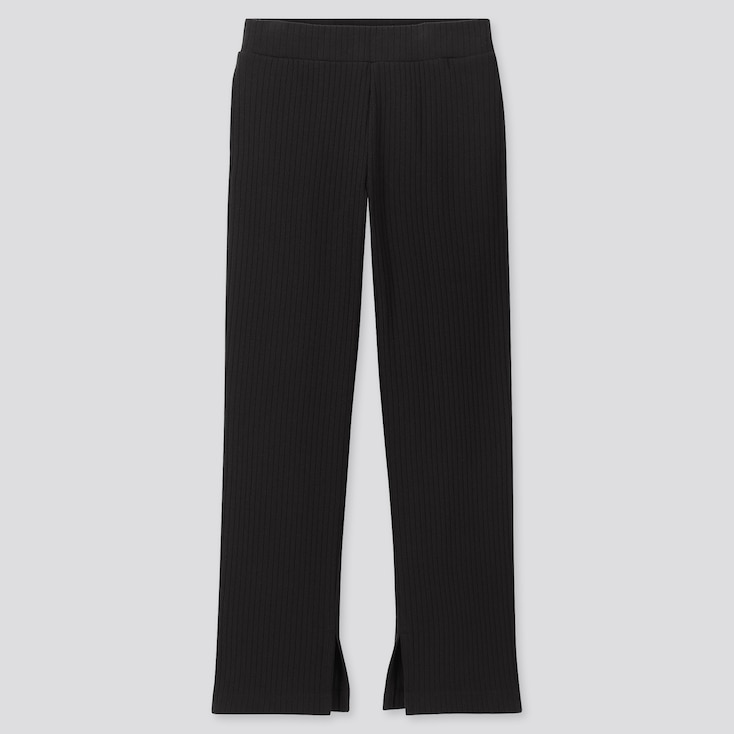 WOMEN WIDE-RIBBED SLIT STRAIGHT PANTS, BLACK, large