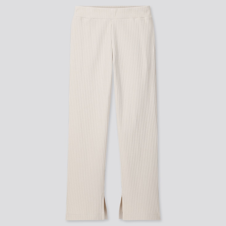 WOMEN WIDE-RIBBED SLIT STRAIGHT PANTS, NATURAL, large