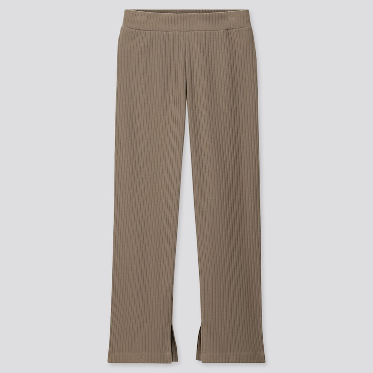WOMEN WIDE-RIBBED SLIT STRAIGHT PANTS, BEIGE, large