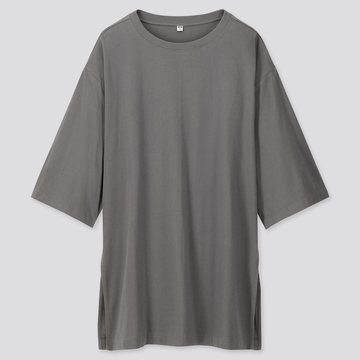 WOMEN OVERSIZE SLIT 3/4 SLEEVE TUNIC, GRAY, large