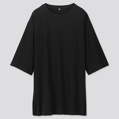 WOMEN OVERSIZE SLIT 3/4 SLEEVE TUNIC, BLACK, medium