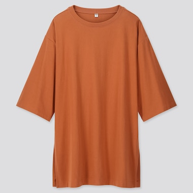 WOMEN OVERSIZE SLIT 3/4 SLEEVE TUNIC, ORANGE, medium
