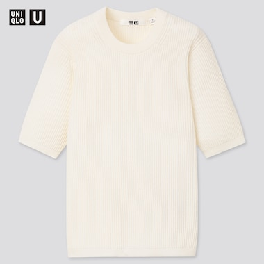 Women U Ribbed Crew Neck Sweater, Off White, Medium