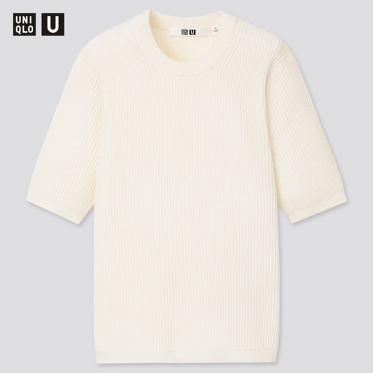 Women U Ribbed Crew Neck Sweater, Off White, Large