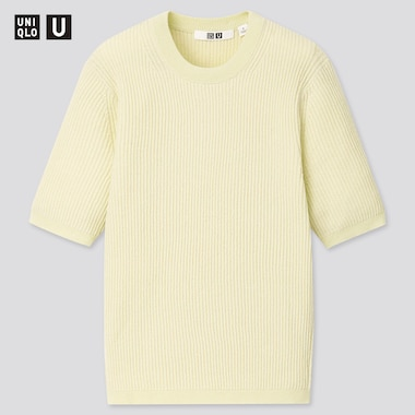Women U Ribbed Crew Neck Sweater, Green, Medium