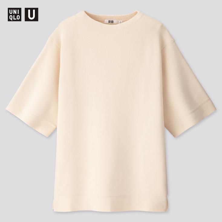 Women U Milano Ribbed Half-Sleeve Tunic, Off White, Large