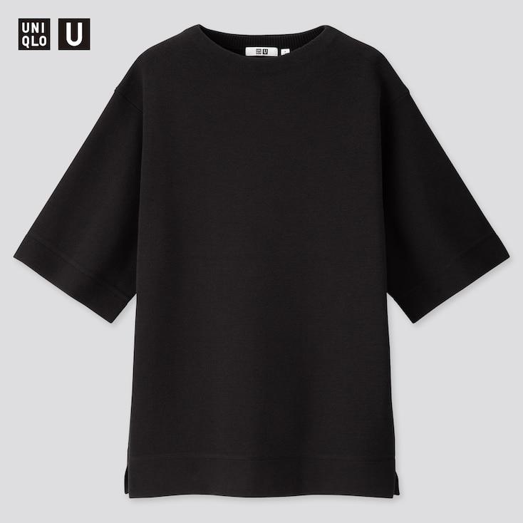 Women U Milano Ribbed Half-Sleeve Tunic, Black, Large