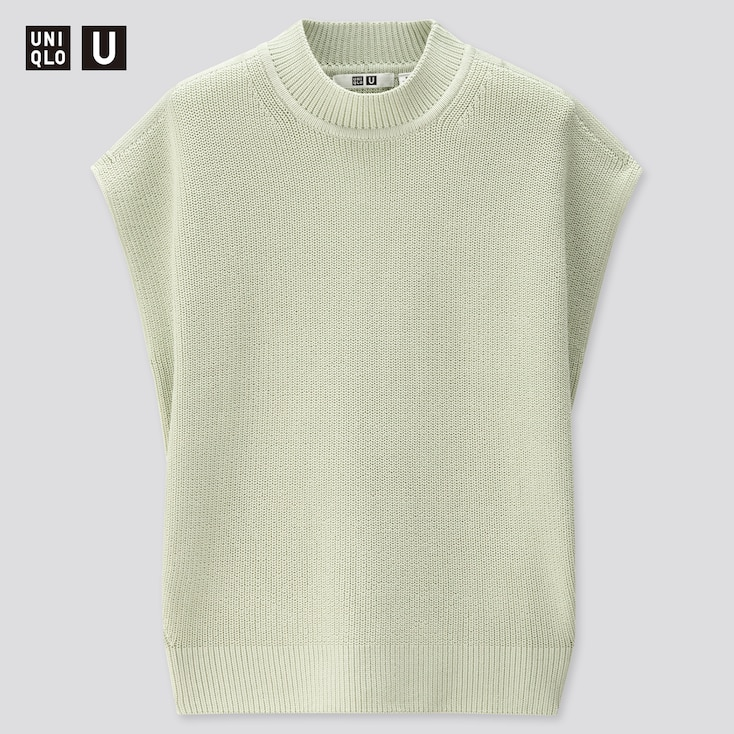 Women U Fisherman Ribbed Sleeveless Crew Neck Sweater, Light Green, Large