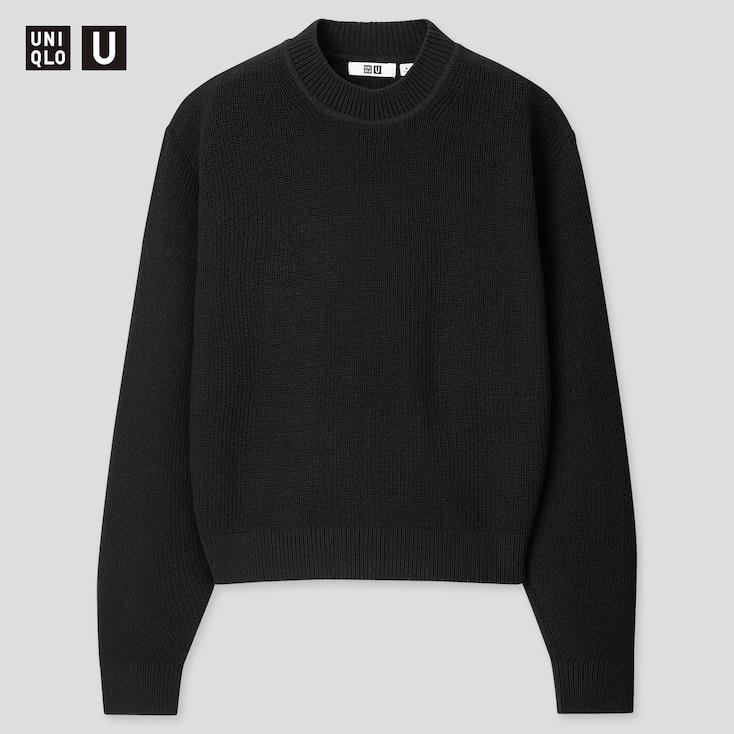 Women U Fisherman Ribbed Mock Neck Sweater, Black, Large
