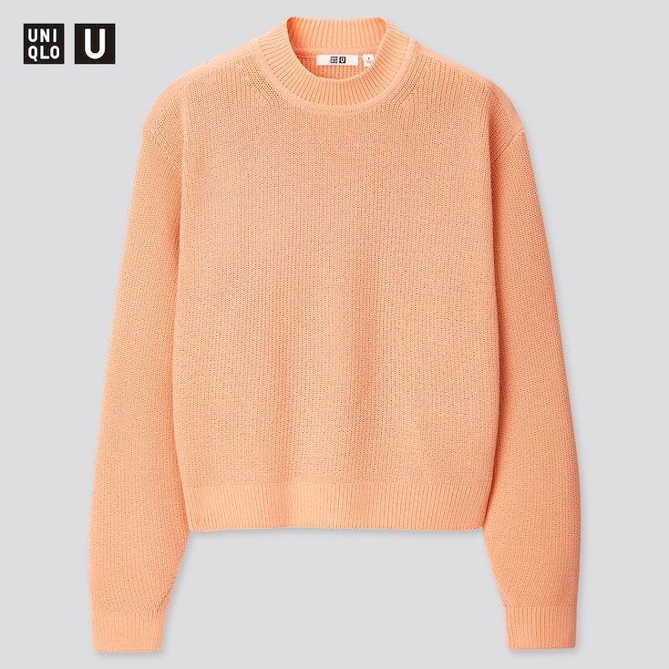 Women U Fisherman Ribbed Mock Neck Sweater, Light Orange, Large