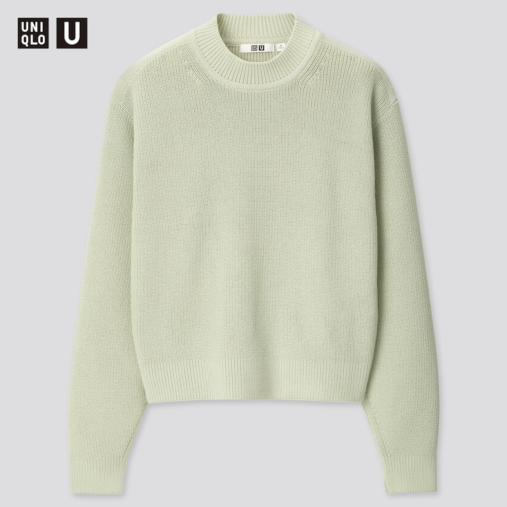 Women U Fisherman Ribbed Mock Neck Sweater, Light Green, Large