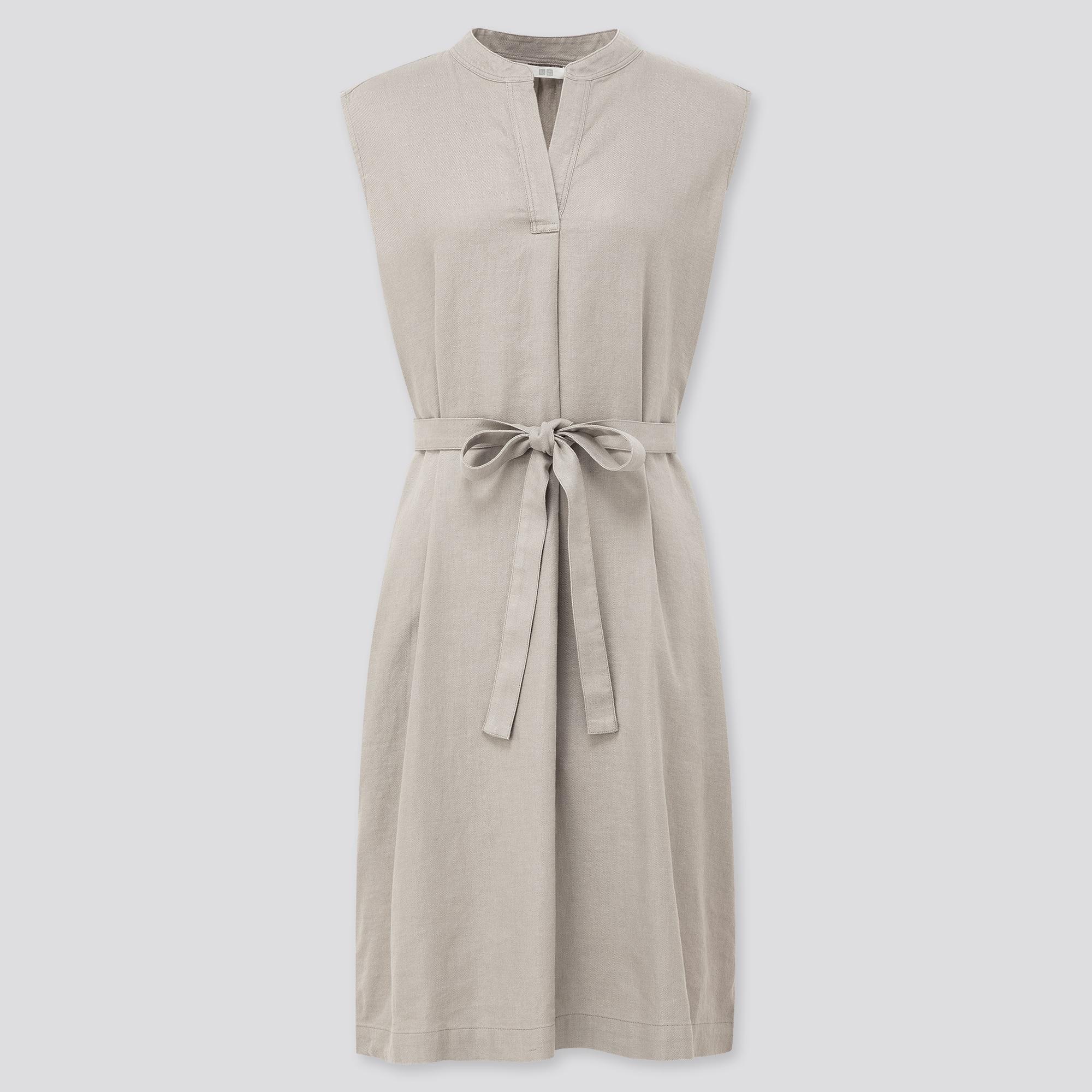 WOMEN LINEN BLENDED SPLIT NECK SLEEVELESS DRESS