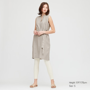 Women Linen Blend Split Neck Sleeveless Dress