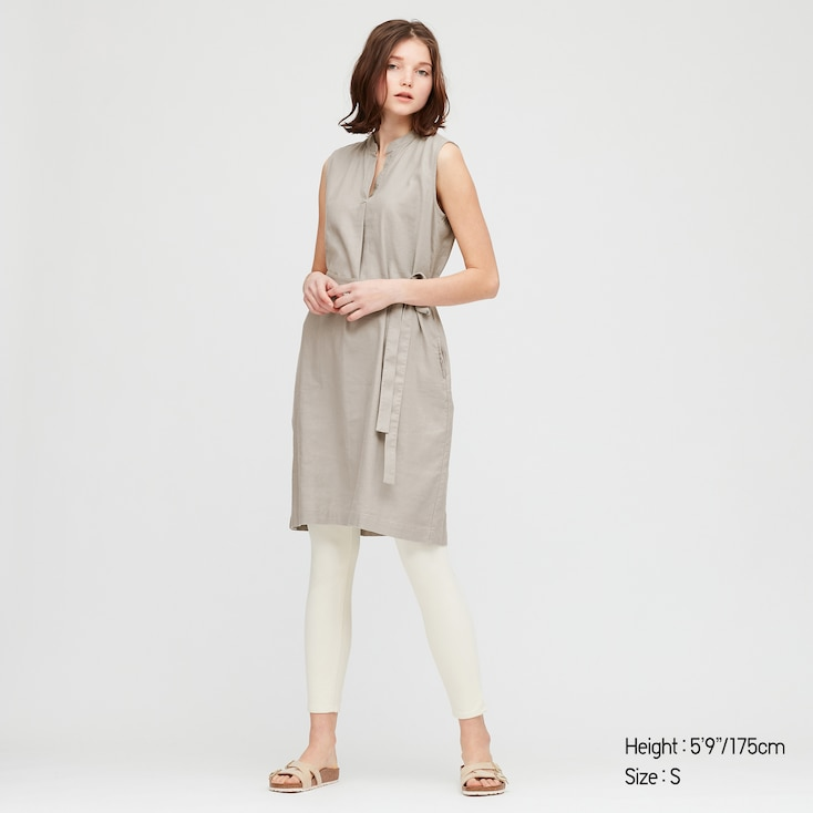 Women Linen Blended Split Neck Sleeveless Dress, Gray, Large