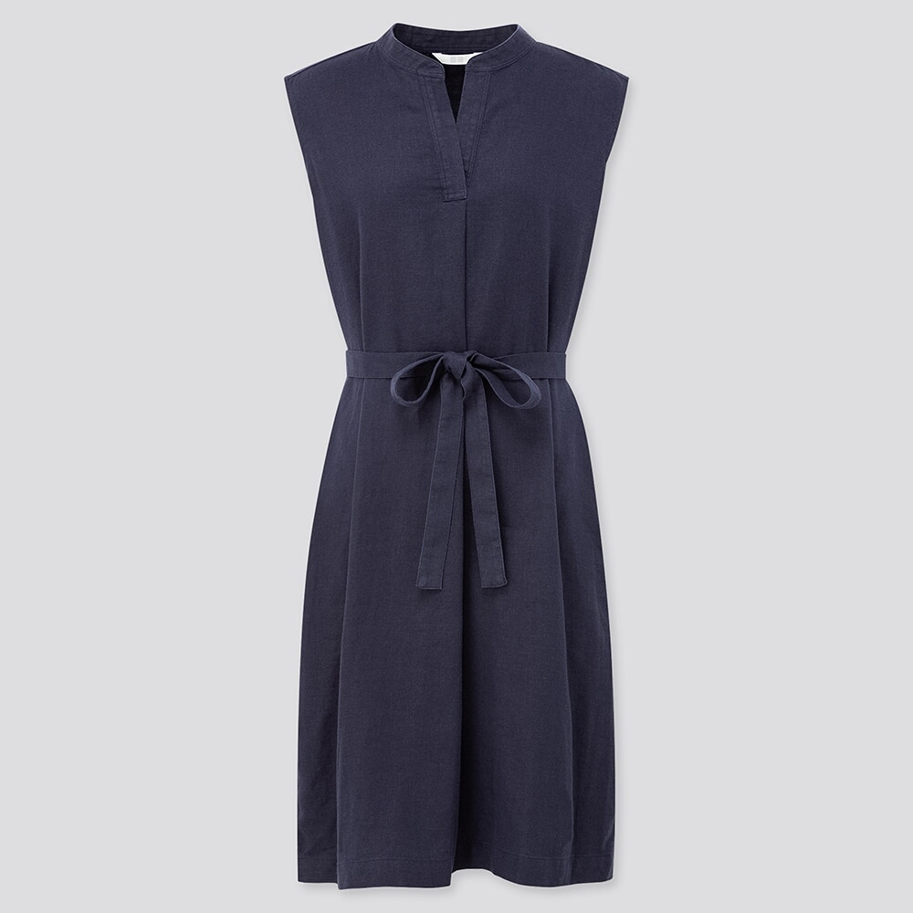Uniqlo women linen blended split neck sleeveless dress