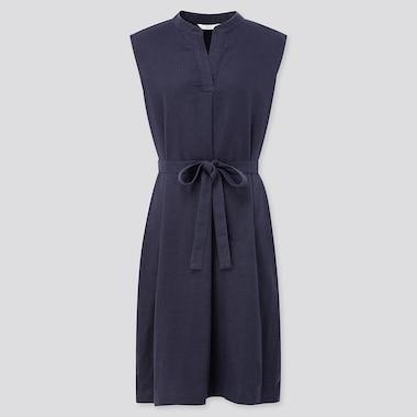 Women Linen Blended Split Neck Sleeveless Dress, Navy, Medium