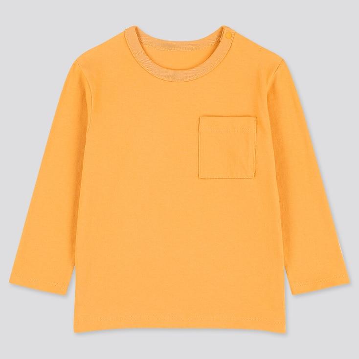 Toddler Crew Neck Long-Sleeve T-Shirt, Orange, Large