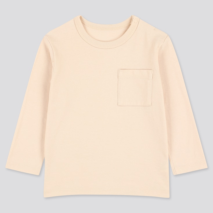 Toddler Crew Neck Long-Sleeve T-Shirt, Natural, Large